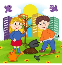 boy and girl is planting tree vector image vector image