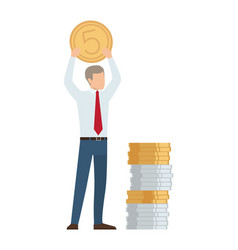 businessman with coin in hands vector image