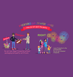 fireworks safety infographic wrong counterfeit vector image vector image