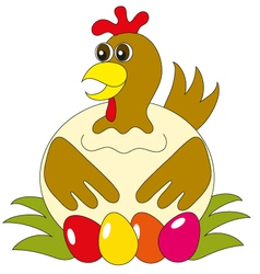 The hen with eggs vector image vector image