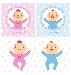 Baby girl and baby boy infants vector image