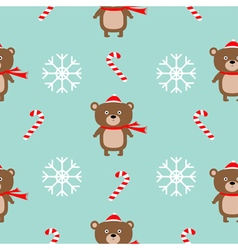 Christmas snowflake candy cane bear wearing red vector