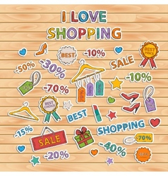 I love shopping setScrapbook setSticker vector image vector image