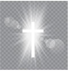 religioush three crosses with sun rays vector image