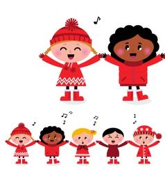 caroling multicultural kids vector image