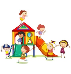 Children playing around the playhouse vector image