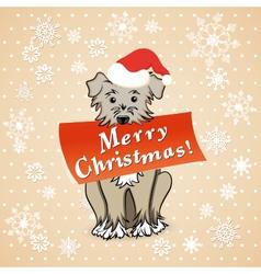 christmas card with cartoon dog vector image vector image