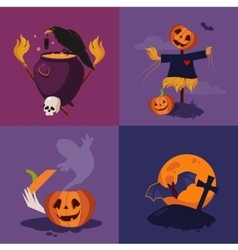 Halloween pumpkin cauldron and scarecrow vector