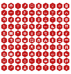 100 holidays family icons hexagon red vector