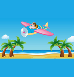 airplane flying over the beach vector image