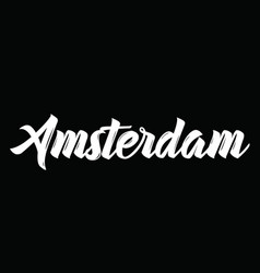 Amsterdam text design calligraphy vector