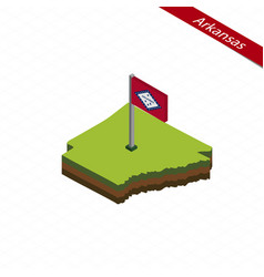 Arkansas isometric map and flag vector