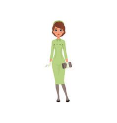 Beautiful elegant young woman in green dress girl vector