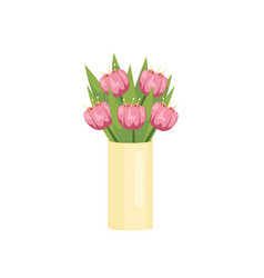 beautiful pink tulips in oblong vase on empty vector image