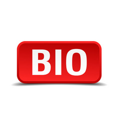 bio red three-dimensional square button vector image