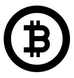 bitcoin icon black color in circle round vector image