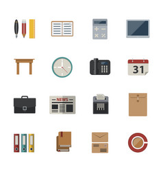 Business and office icon flat icons set for vector
