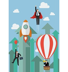Businessman flying competition against growing up vector image