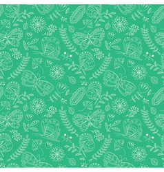 Buterfly and beauty flowers seamless pattern vector