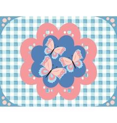 Butterflies gingham pattern vector