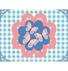 Butterflies gingham pattern vector image