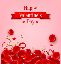 card with red rose petals vector image
