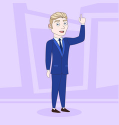 cartoon business man in elegant suit clothes point vector image