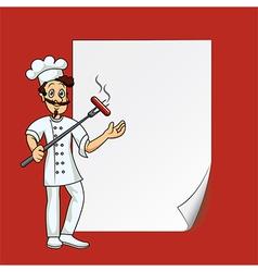 cartoon cook blank paper vector image