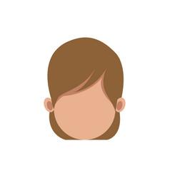 Cartoon woman head faceless hair style vector