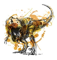 Colored hand sketch tyrannosaurus vector image