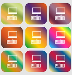 Computer monitor and keyboard Icon Nine buttons vector image