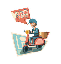 Courier delivery service in motorcycle icon vector