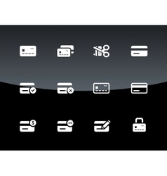 Credit card icons on black background vector image