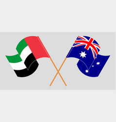 Crossed and waving flags australia vector
