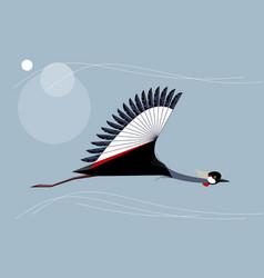 Crowned crane flies vector