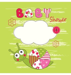 Cute baby background with snail vector