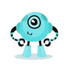 cute light blue friendly robot artificial vector image
