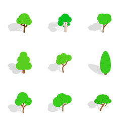 deciduous trees icons isometric 3d style vector image