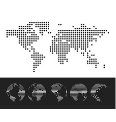 dotted map and globe world vector image