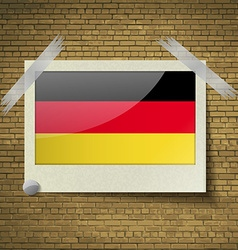 Flags Germany at frame on a brick background vector image