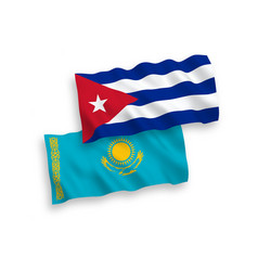 Flags kazakhstan and cuba on a white background vector