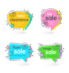 Flat linear promotion sticker price tag sticker vector