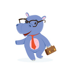 funny baby hippo businessman character in glasses vector image