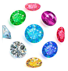 gemstone bright flatlay set top side view vector image