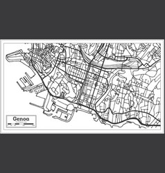 Genoa italy city map in retro style outline map vector