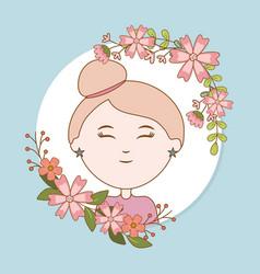 Girl flowers label decoration cartoon vector
