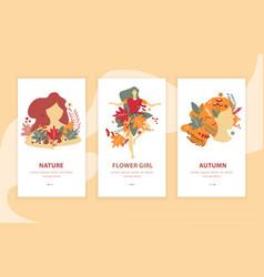 Girls autumn beauty landing compositions vector