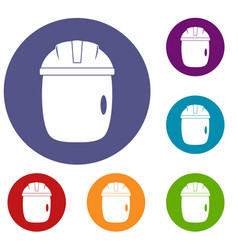 Glass welding mask icons set vector