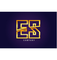 Gold golden alphabet letter es e s logo vector