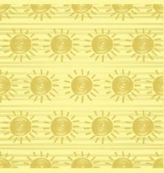 Golden sun seamless pattern vector